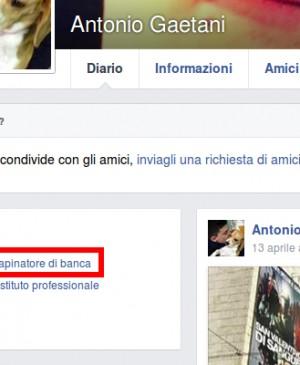 Su Facebook si definisce ''rapinatore'', tenta un colpo e viene arrestato